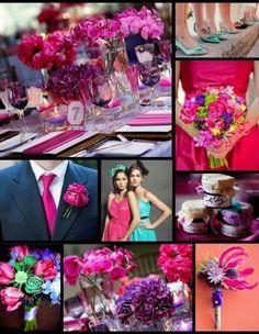 Fuschia and lavender wedding colours