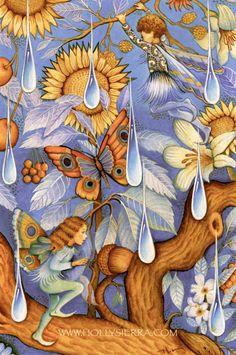 Periwinkle Fairies Dancing in the Rain by HollySierraArt on Etsy Periwinkle Fairy, Dancing In The Rain, Rain Dance, Fairy Land, Faeries, Fantasy Art, Original Paintings, Greeting Cards, Canvas Prints
