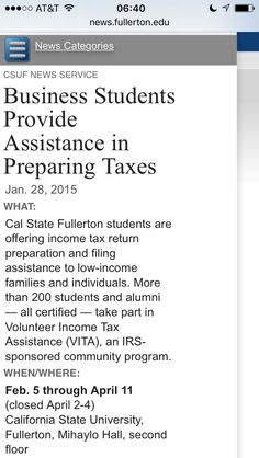 CSUF Income Tax Assistance