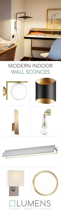 Modern indoor wall sconces have come a long way since their castle torch-bearing days. Now they come in as many shapes, sizes and styles as any other piece of decor, with the added functionality of room-warming ambient lighting and focused task lighting. Interior Wall Lights, Modern Wall Lights, Interior Walls, Modern Lighting, Indoor Wall Sconces, Task Lighting, All Modern, Lamp Light, Castle