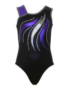 Leotards | Gymnastic Workout Clothes | k-Bee Leotards - Felicity Black/Gunmetal/ Purple Leotard - k-Bee Leotards