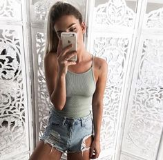 awesome Cute outfit. Teen fashion. Highwaisted denim shorts. Ripped body suits.... by http://www.redfashiontrends.us/teen-fashion/cute-outfit-teen-fashion-highwaisted-denim-shorts-ripped-body-suits/
