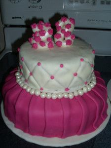Pink And White Birthday Cake For 28th Cakes