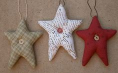 Simple fabric star ornaments (picture only), I like the idea of writing on white fabric