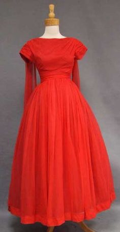 1960's Red Chiffon Gown