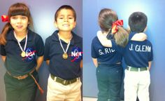 Mom on a budget, Sally Ride & John Glenn costume. $3 blue polos from Goodwill, created a NASA symbol with felt & paint, added official names to the back.