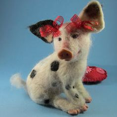 Sophia, A Valentine's Day Piggy Needle Felted Art Doll by Robin Joy Andreae