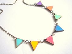 Neon Geometric Necklace, Wood Triangles Necklace,Bunting Necklace,Geometric Jewelry