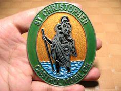 Vespa Lambretta St Cristhoper Castrol Mobil Oil Badge Metal Decal