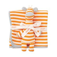 giggle Better Basics Striped Receiving Blanket & Giraffe Gift Set (Organic Cotton)... seriously, so darn cute!