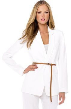 Shop Belted Linen Jacket from MICHAEL KORS at Neiman Marcus Last Call, where you'll save as much as on designer fashions. Michael Kors Jackets, Last Call, Clearance Sale, Neiman Marcus, Bell Sleeve Top, Belt, My Style, Clothes, Collection