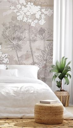 If you love neutral colour schemes then this bedroom inspiration is for you! Pair this gorgeous Neutral Florals wallpaper with a simple bed with no headboard. Style with crisp white bedding and curtains and add rattan and basket weave accessories throughout to pull in the warm neutral tones. This bedroom is just so relaxing! Head to Wallsauce.com to get the look!