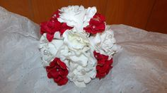 Bridesmaid bouquet Red and white just $25,00 at www.silkweddingflowersforless.com