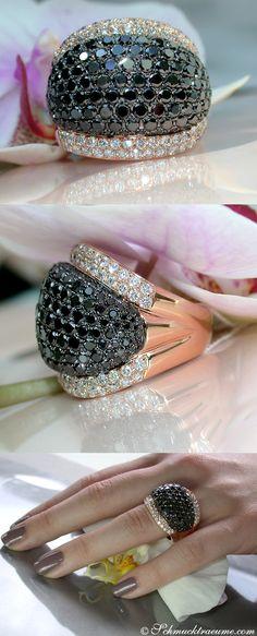 Huge Black&White Diamond Ring, 7.71 ct. RG18K - Visit: schmucktraeume.com Like: https://www.facebook.com/pages/Noble-Juwelen/150871984924926 Mail: info@schmucktraeume.com