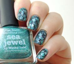 Sea Jewel by Picture Polish - Mermaid Nails - Fish Scales nails - Stamping - Gals