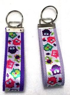 Colorful Tossed Owls Key Fob Wristlet Key by GabbysQuiltsNSupply, $5.00