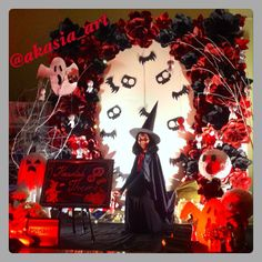 Haunted themes backdrop photobooth.. Cute horror~