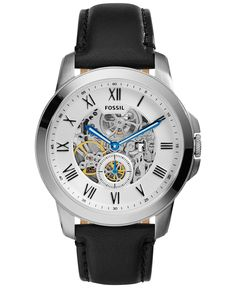 Fossil Men's Automatic Grant Black Leather Strap Watch 44mm ME3053 - Watches…