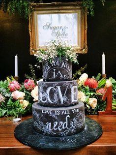 This Chalkboard Wedding Cake Featuring Beatles' Lyrics is Perfect – Beautiful Wedding Cake Designs Chalkboard Cake, Chalkboard Wedding, Black Chalkboard, Black And White Wedding Cake, Black Wedding Cakes, Pretty Cakes, Beautiful Cakes, Unusual Wedding Cakes, Cake Wrecks
