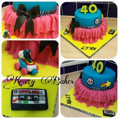 Girly 80's themed 40th birthday cake