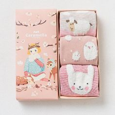 Gift box women autumn winter cute 3d ears cartoon animal cotton socks for woman fashion socks 3pairs/lot