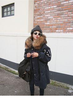 アウター - コート - 綿入れ女冬コート韓国BF風字母腕章大毛襟に長めドロスト棉服厚くし ダウンジャケット ロングコート韓国ファッション 高品質  ベーシック 大人気