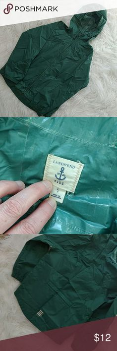 Lands End boys rain coat Kids size 7 green Lands End zip up hooded rain jacket.  Has pockets, and back velcro compartment.  Perfect condition.  Smoke-free and pet friendly home. Lands' End Jackets & Coats Raincoats