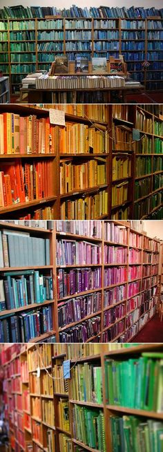 Chris Cobb created this installation at Adobe Books where he catalogued 20,000 books by color.