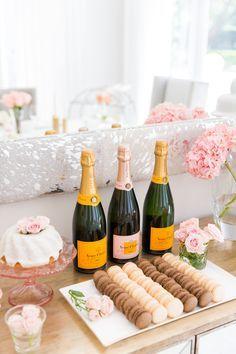 champagne macaron dessert bar bridal shower