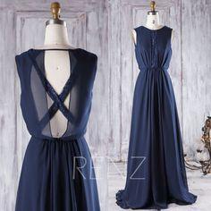 2016 Navy Chiffon Bridesmaid Dress, Scoop Neck Wedding Dress, Criss Cross Back Prom Dress, A Line Evening Gown Floor Length (H348)