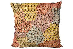 Dotty 20x20 Pillow, Brown/Multi A shower of dotty discs creates an intriguing, tactile pattern across this gorgeous pillow. Artful, starry stitchery in an array of striking colors pops against the chocolate-hued ground.