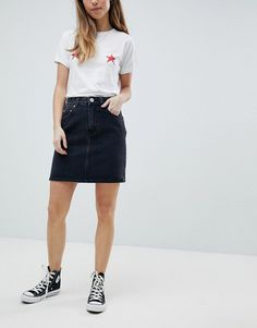 ASOS PETITE Denim Original High Waisted Skirt in Washed Black  £25.00  Free Delivery & Returns*