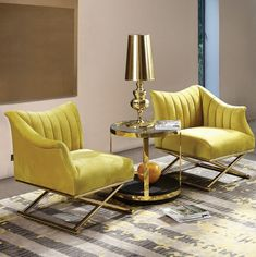 Weingarten 2 Piece Armchair Set, glamourous living room/lounge area, yellow upholstered accent chairs with golden frame Living Room Sofa Design, Living Room Chairs, Living Room Designs, Living Room Decor, Sofa For Bedroom, Design Room, Deco Furniture, Luxury Furniture, Furniture Design