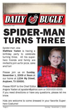 This is a cute idea for a spiderman party invite.
