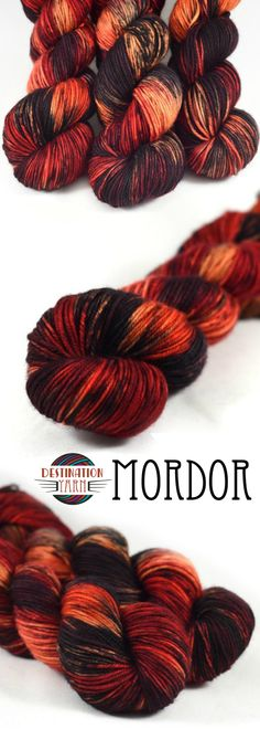 One doesn't simply walk into this lava inspired colorway. Hand-dyed, fingering weight yarn inspired by the Lord of the Rings-perfect for knitting, crochet, fiery fashion, or DIY craft projects!