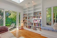 home library wall- love the light on the floor too!