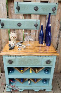Repurposed Dresser- Wine Bar, for an amazing farmhouse!