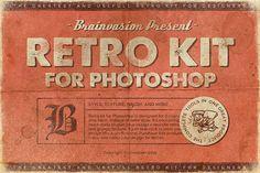 Retro Kit for Photoshop #vintagefonts #retrokit #logos #badges #deal #bundle #textures