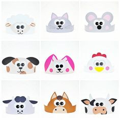 Set consists of 11 crowns with different farm animals such as: • Pig • Cat • Dog • Hen • Horse • Rabbit • Cow • Mouse • Lamb • Little goat • Duck It can be used by boys as well as girls for games, photo session, parties and home theater. With this set any game will be exciting and fun.