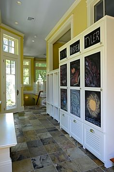 Fairfax Mudroom great solution for a busy home with children - love the chalk board door inserts - leave messages for your children or use as a entertainment for little ones.