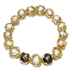 "Andrew Grima  Pearl Necklace, 1972  Baroque Pearls held in Yellow Gold and Diamond ""Oyster Shells"""