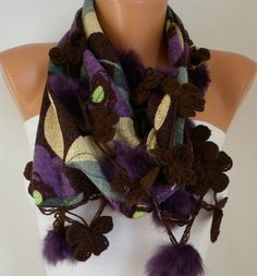 Cotton Scarf  Headband  Cowl with Lace and Pompom Edge by fatwoman, $22.50