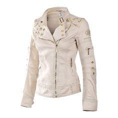 Cream beige gold hardware denim jean khaki jacket OPEN TO OFFERS! JUST IN! Thin Adorable cream beige bomber moto jacket with metallic gold hardware and gold designs. Embroidered metallic gold floral leaf pattern on shoulders. Looks like faux leather in the photos but it is actually more like a jean jacket or denim jacket, the material is similar to khaki. Cotton spandex mix. Brand new! Available in small medium and large. ‼️PLEASE DO NOT BUY THIS LISTING! Ask and I will make a separate one…