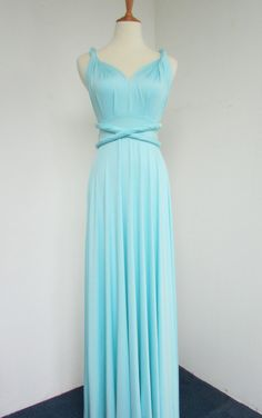 Convertible Infinity Knee length Bridesmaids Dress in Tiffany Blue on Etsy, $42.66