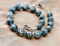 Glamor and gloss in classic museum quality abalone mosaic globe beads designed by TOUCHSTONES' Jill Evans Petzall for etsy's InspiredbyDesign, $385.00 USD