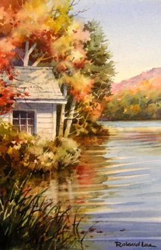 October Lake House , Original Watercolor Painting of Vermont - Watercolor Paintings by Roland Lee