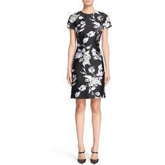 Michael Kors Rose Print Jacquard Dress (3 410 BGN) ❤ liked on Polyvore featuring dresses, white tee shirt dress, tee shirt dress, rose print dress, short-sleeve dresses and white dress