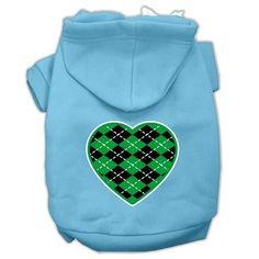 Argyle Heart Green Screen Print Pet Hoodies Baby Blue Size XXL (18)