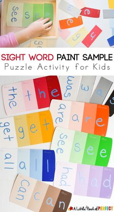 Sight Word Paint Sample Puzzles for Kids - thinfty way to learn spelling and writing words!