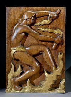 Charles-Alphonse COMBES (1891-1968) - La danse du feu - Panneau décoratif en très [...], Art Nouveau- Art Déco à De Baecque & Associés | Auction.fr